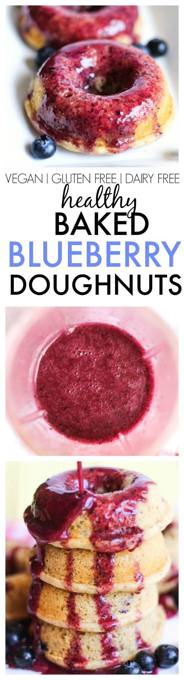 Healthy Baked Blueberry Doughnuts with a blueberry and orange glaze- Fluffy and delicious, these are the perfect snack, dessert or treat to enjoy anytime! {vegan, gluten free, dairy free}- thebigmansworld.com
