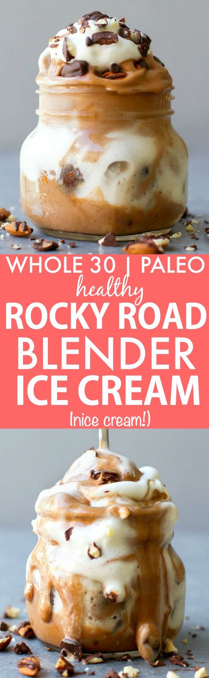 Clean Eating Blender Rocky Road Ice Cream (Whole 30, Paleo, V, GF)- Whole30 friendly fruit based nice cream made in a blender- NO cream or butter and completely dairy free and sugar free! {vegan, gluten free, paleo recipe}- thebigmansworld.com