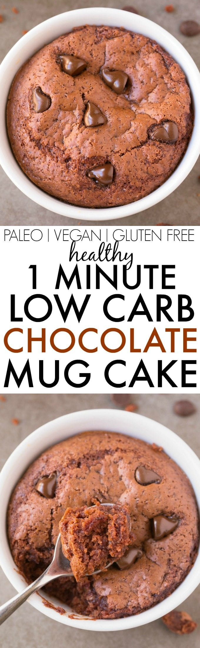 Healthy 1 Minute LOW CARB Chocolate Mug Cake- Light, fluffy and moist in the inside! Packed full of protein and no sugar whatsoever! {vegan, gluten free, paleo recipe}- thebigmansworld.com