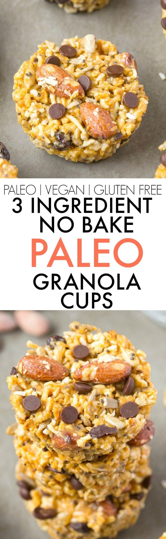 Healthy 3 Ingredient No Bake PALEO Granola Cups- Quick, easy and simple to whip up, these healthy snacks are perfect for back to school, lunch boxes and 100% GRAIN FREE! {vegan, gluten free, paleo recipe}- thebigmansworld.com