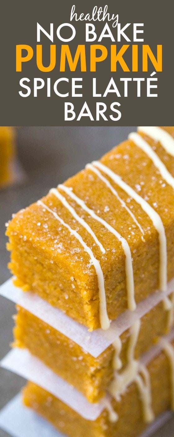 Healthy No Bake Pumpkin Spice Latte Bars- Thick, chewy and LOADED with pumpkin spice flavor, these protein + low carb packed snack bars are a quick and easy snack or energy bite! {vegan, gluten free, dairy free, paleo recipe}- thebigmansworld.com