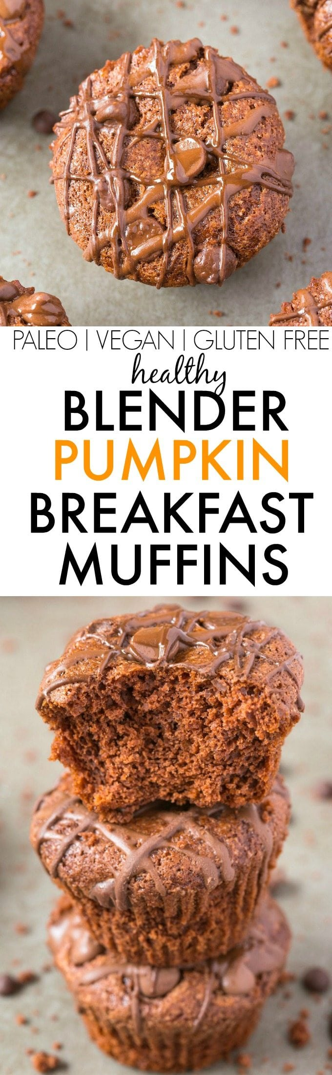 Healthy BLENDER Pumpkin Breakfast Muffins made with NO butter, oil, flour or sugar but you'd never tell- Freezer friendly, Easy AND delicious! The perfect snack or dessert too! {vegan, gluten free, flourless, paleo recipe}- thebigmansworld.com