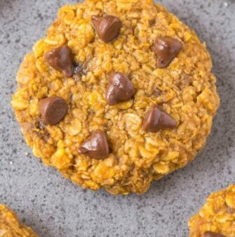 Healthy 3 Ingredient NUT-FREE Flourless Pumpkin Cookies- These thick, chewy and soft cookies are 100% Nut-free and made with sunflower seed (sunbutter!) and allergen-friendly- NO butter, oil, flour or sugar! Perfect for lunch boxes! {vegan, gluten free, sugar free recipe}- thebigmansworld.com