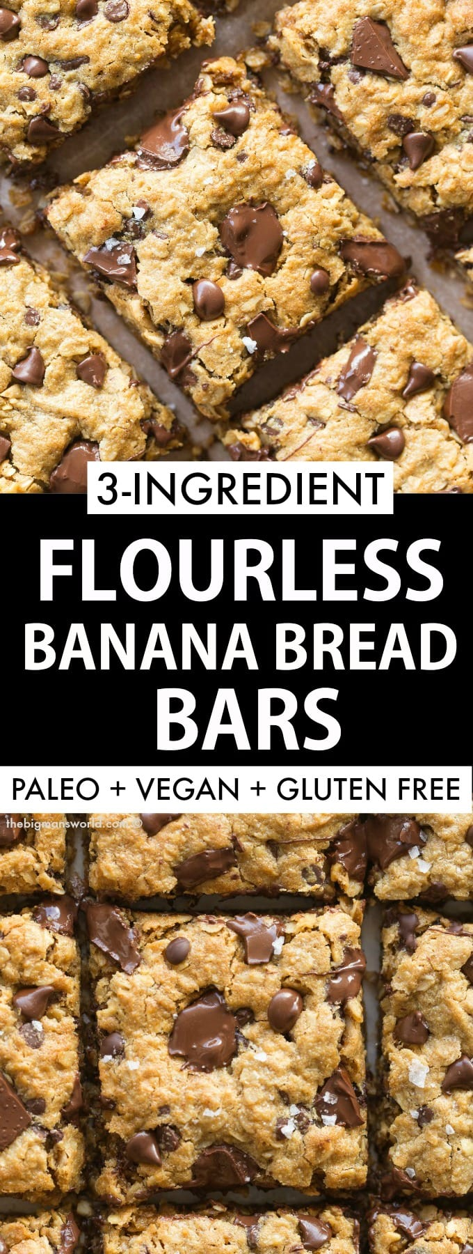 Healthy Flourless Banana Bread Breakfast bars made with oatmeal, banana and peanut butter!