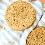 TWO Minute Flourless English Muffin- Perfect toasted and a bread alternative, these crispy, chewy and tender English muffins are completely yeast free and made in a microwave or an oven- There is a grain free option too! {Vegan, gluten free, paleo recipe}- thebigmansworld.com