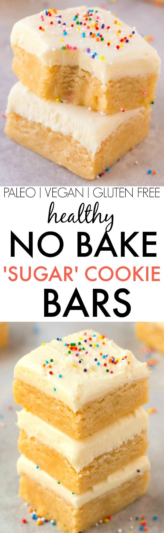 Healthy No Bake Sugar Cookie Bars