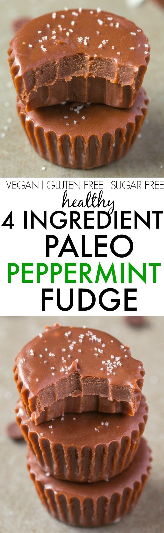 4 Ingredient Paleo Peppermint Fudge- Smooth, creamy and secretly healthy, it's made with NO condensed milk, NO dairy, NO white sugar, NO grains and ZERO butter- It's a quick, easy and healthy four-ingredient sugar free fudge treat! {vegan, gluten free, paleo recipe}- thebigmansworld.com