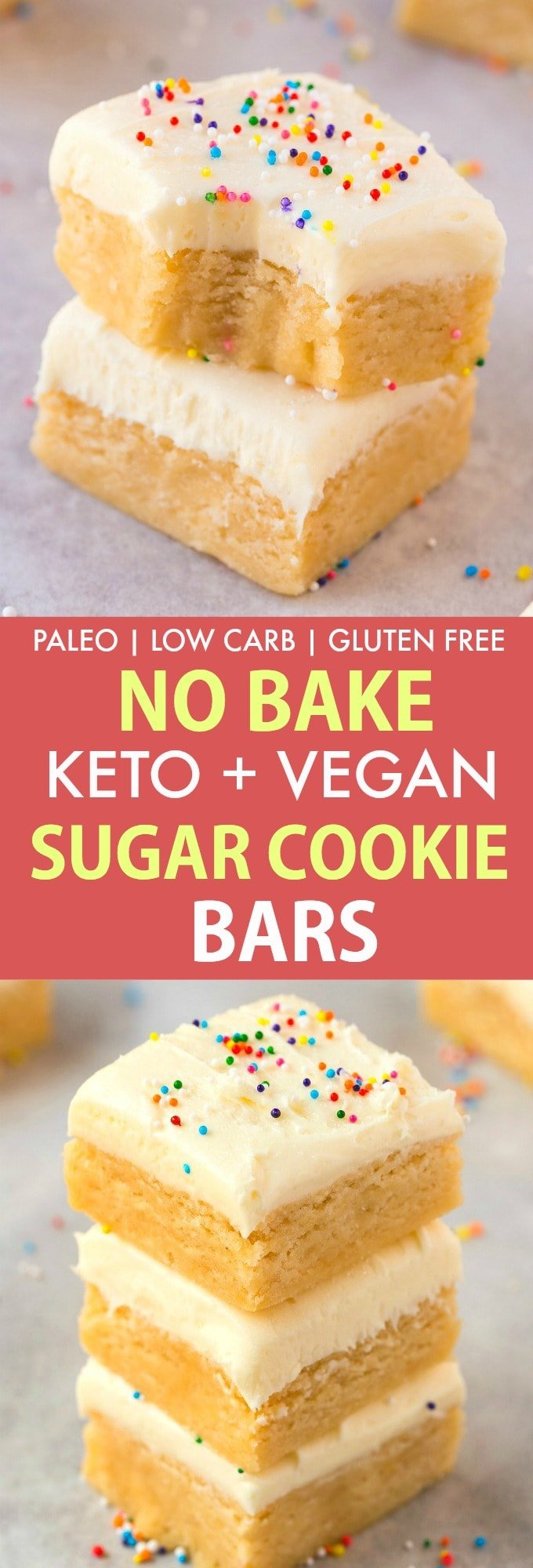 Healthy No Bake Paleo Vegan Sugar Cookie Bars- Perfect for Christmas, Thanksgiving and the holidays, this keto and low carb dessert is SO easy and takes minutes! #thanksgiving #christmasrecipe #sugarcookie #nobake #ketodessert #vegandessert #holidaybaking