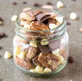 Keto trail mix filled with candied pecan,s almonds and chocolate