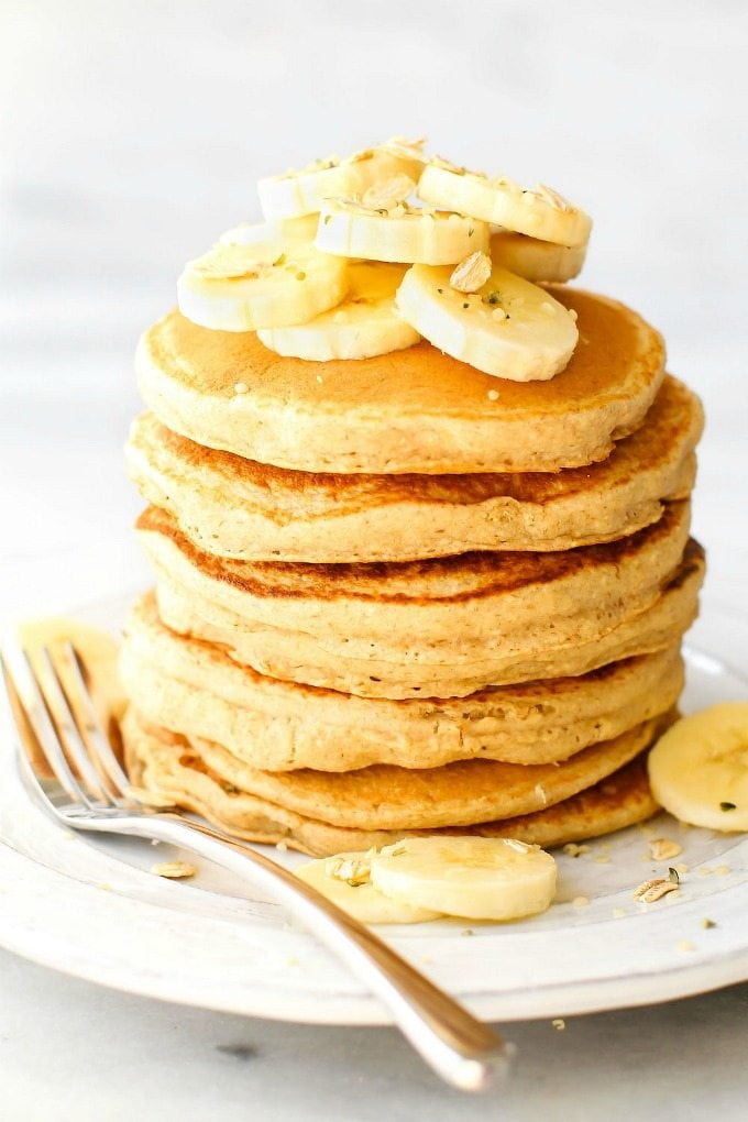 Fluffy Flourless Banana Smoothie Pancakes Vegan Gluten Free Sugar