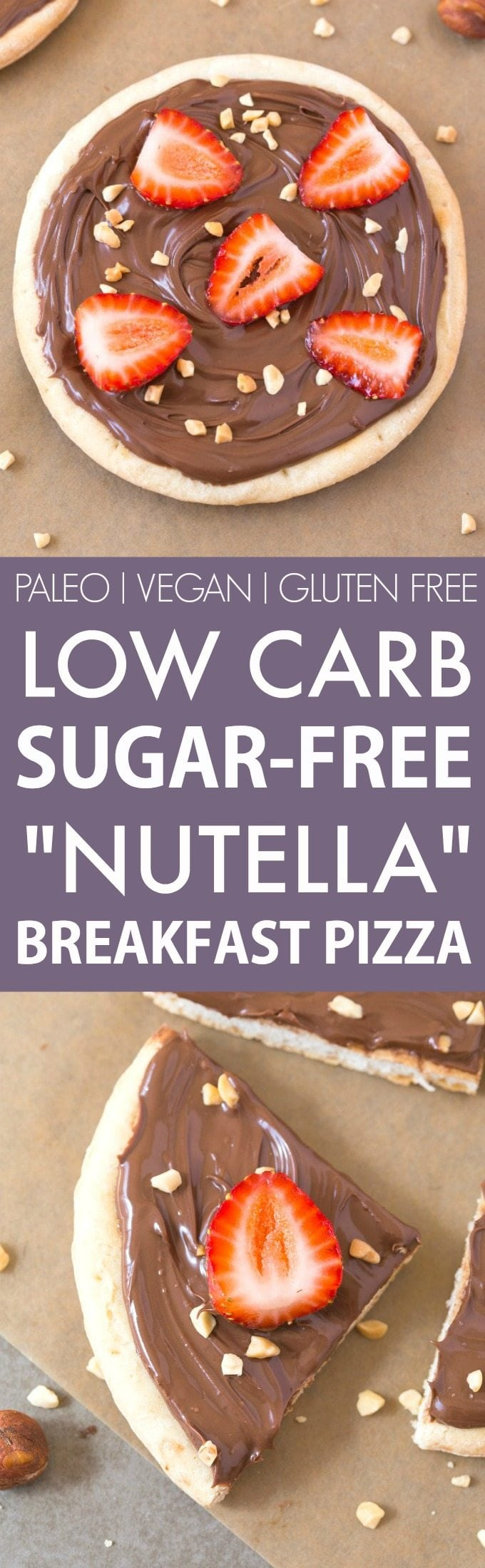 "Healthy Low Carb Sugar Free ""Nutella"" Breakfast Pizza (V, GF, Paleo)- A thin and crispy low carb pizza crust topped with a creamy and sugar-free hazelnut spread! It's filling and like dessert for breakfast! {vegan, gluten free, paleo recipe}- thebigmansworld.com"