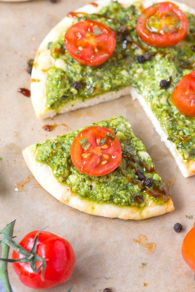 Healthy Low Carb Breakfast Pizzas with balsamic vinegar and pesto