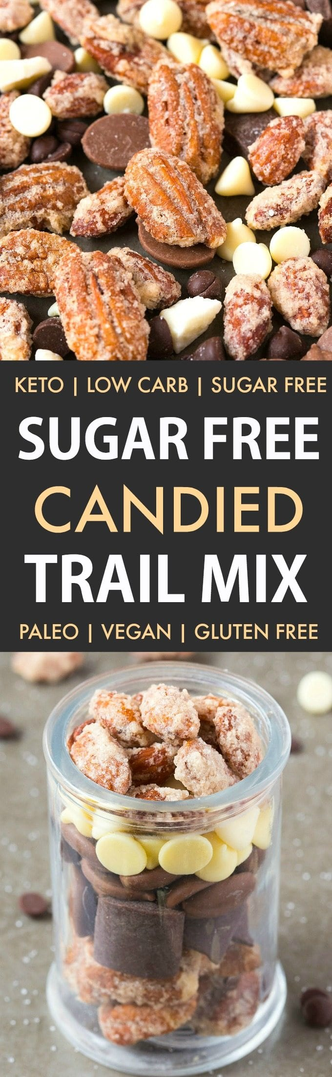 Sugar-Free Candied Trail Mix (Keto, Low Carb, Paleo)- Easy homemade candied trail mix made with zero sugar or oil- Perfect for holidays, gifts and every day guilt-free snacking! {vegan, gluten free, dairy free recipe}- #nuts #sugarfree #lowcarb #ketodessert #trailmix | Recipe on thebigmansworld.com