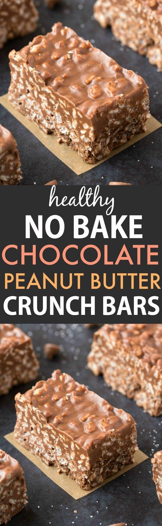 Healthy No Bake Chocolate Peanut Butter Crunch Bars Vegan