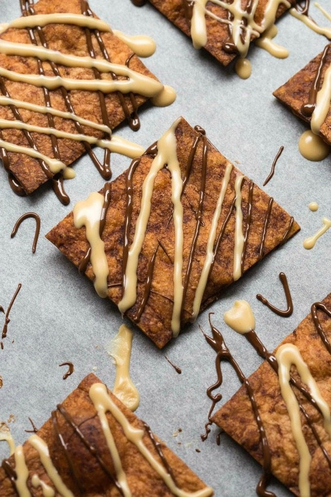 Healthy Crispy Baked Peanut Butter Cup Pita Chips (V, GF, DF)- Easy, crispy and low calorie pita chips- The perfect sweet and salty snack which is good for you! {vegan, gluten free, dairy free recipe}- thebigmansworld.com
