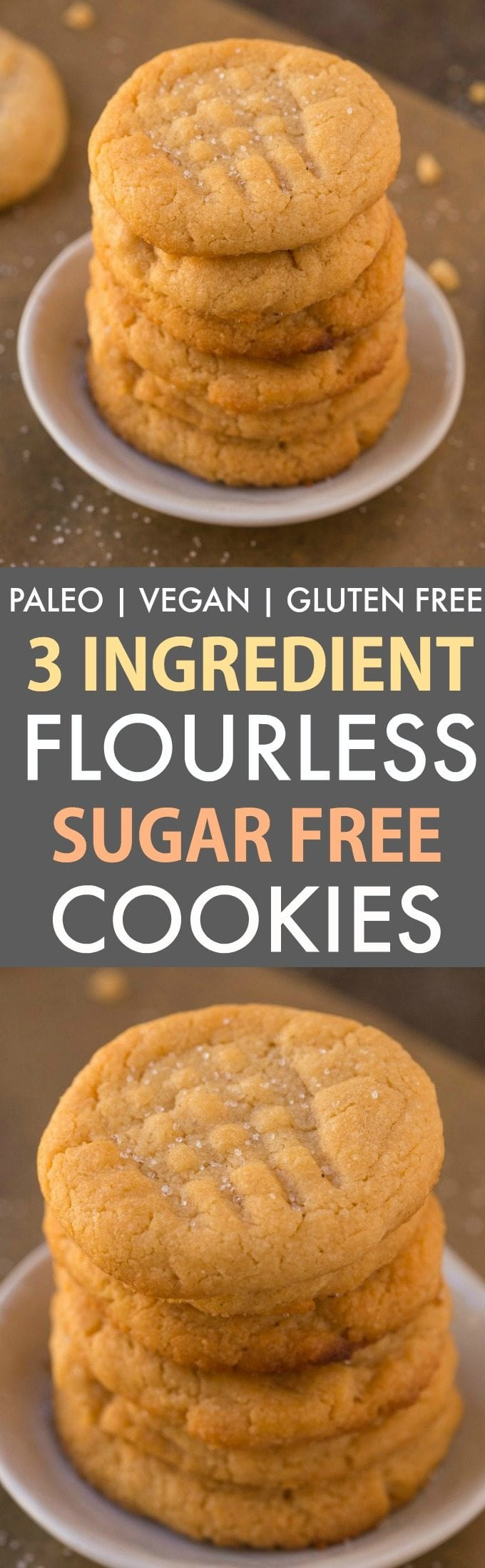 3-Ingredient Sugar-Free Flourless Cookies (V, GF, Paleo, DF)- The classic three ingredient peanut butter cookie gets a sugar-free, egg-free and healthy makeover! Ready in just 10 minutes! {vegan, gluten free, grain free recipe}- thebigmansworld.com