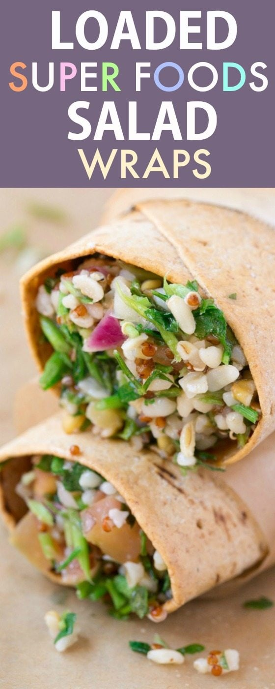 Healthy Loaded Superfoods Salad Wrap (V, GF, DF)- Easy, quick and delicious sandwich wraps recipe packed with super foods and ancient grains! Freezer friendly and weight watchers approved! {vegan, gluten free, low calorie}- thebigmansworld.com