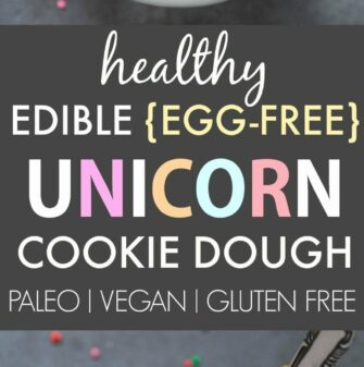 Healthy Edible Egg-Free Unicorn Cookie Dough (V, GF, DF, P)- Easy guilt-free and edible flourless cookie dough inspired by the unicorn frappuccino- Ready in 5 minutes! {vegan, gluten free, paleo recipe}- thebigmansworld.com