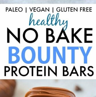 Homemade No Bake Bounty Protein Bars (V, GF, Paleo)- Easy, fuss-free and delicious, this healthy protein packed candy bar copycat combines coconut, chocolate and protein in one! {vegan, gluten free, low carb recipe}- thebigmansworld.com