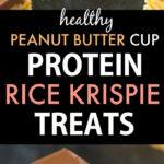 Peanut Butter Cup Protein Rice Krispie Treats (Vegan, Gluten Free, Sugar Free)