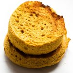 2-Minute Flourless Pumpkin English Muffin (V, GF, P)- Easy, toasted two minute Pumpkin English Muffin recipe ready in two minutes or oven baked! Just four ingredients and freezer friendly! {vegan, gluten free, paleo recipe}- thebigmansworld.com
