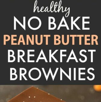 Healthy No Bake Peanut Butter Breakfast Brownies (V, GF, P, SF)- Easy and delicious dessert-for-breakfast recipe for healthy breakfast brownies with a peanut butter fudge layer! Chocolate, peanut butter and breakfast combined! {vegan, gluten free, paleo recipe}- thebigmansworld.com