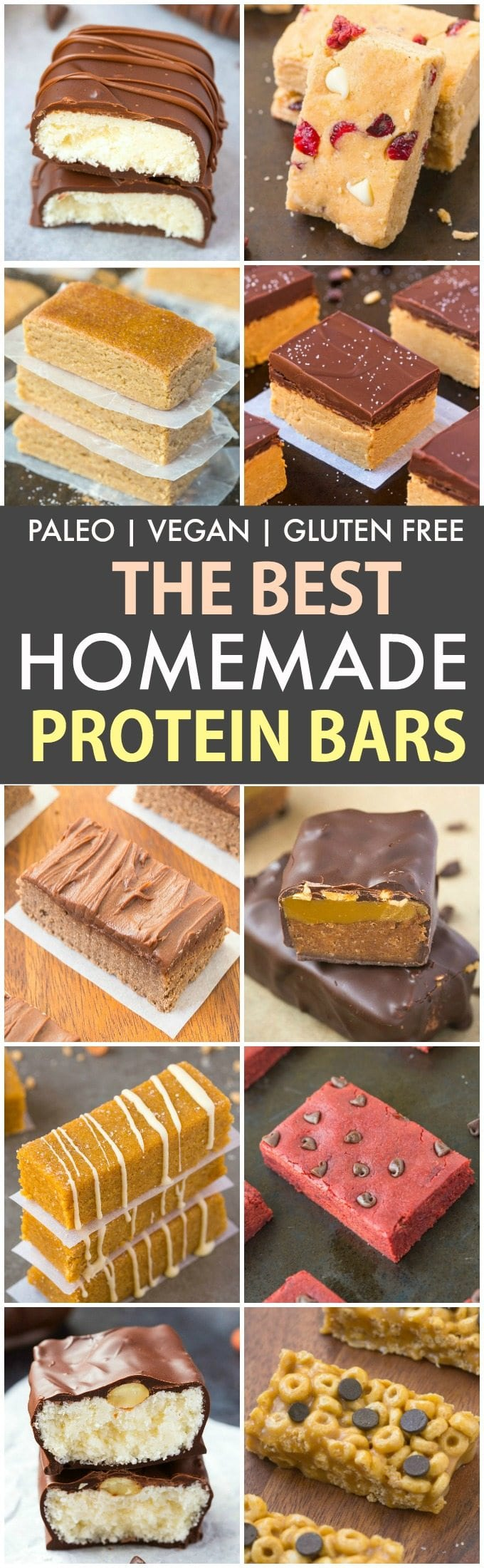 The Best Healthy Homemade Protein Bar Recipes (P, V, GF, DF)- Easy, quick and delicious homemade protein bar recipes which take minutes to make- A portable low carb and low sugar snack! {vegan, gluten free, paleo}- thebigmansworld.com