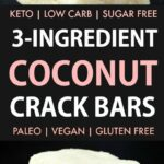 3 Ingredient Paleo Vegan Coconut Crack Bars (Keto, Sugar Free, No Bake)