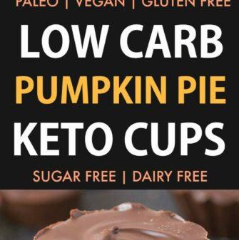 Low Carb Pumpkin Pie Keto Cups (Vegan, Paleo, Gluten Free)- Easy 3-Ingredient homemade pumpkin pie fudge covered in guilt-free chocolate- The ultimate satisfying sweet treat! {v, gf, p recipe}- thebigmansworld.com #keto #ketodessert #fatbomb