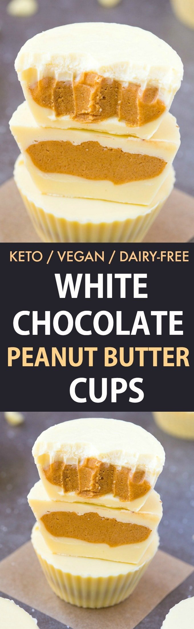 Keto Vegan White Chocolate Peanut Butter Cups- Reese's white chocolate peanut butter cups gets a keto, sugar-free and dairy-free makeover! A creamy, peanut butter filling covered in dairy-free, vegan and keto white chocolate! Nut-Free and Paleo option too! #ketogenic #ketodessert #vegandessert #vegancandy #peanutbutter #homemadecandy