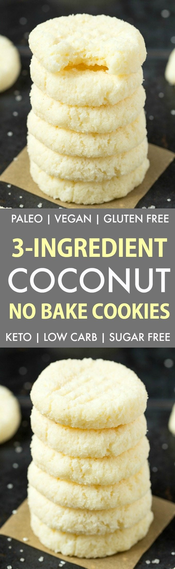 3-Ingredient No Bake Coconut Cookies (Keto, Paleo, Vegan, Sugar Free)- Make these super simple no bake cookies in under 5 minutes, to satisfy your sweet tooth the healthy way! Low carb and tastes like a coconut candy bar! #lowcarbrecipe #nobakecookies #ketodessert #lowcarb #sugarfree | Recipe on thebigmansworld.com