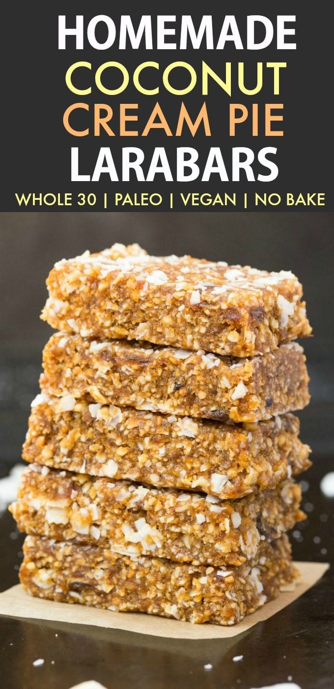 Homemade Coconut Cream Pie Larabars (Whole30, Paleo, Vegan, Gluten Free) These homemade Larabars are cheaper than store-bought and take minutes to whip up! Made with just 5 Ingredients and whole30 approved! (vegan, whole 30, dairy free, refined sugar free)- #whole30 #vegan #whole30approved | Recipe on thebigmansworld.com