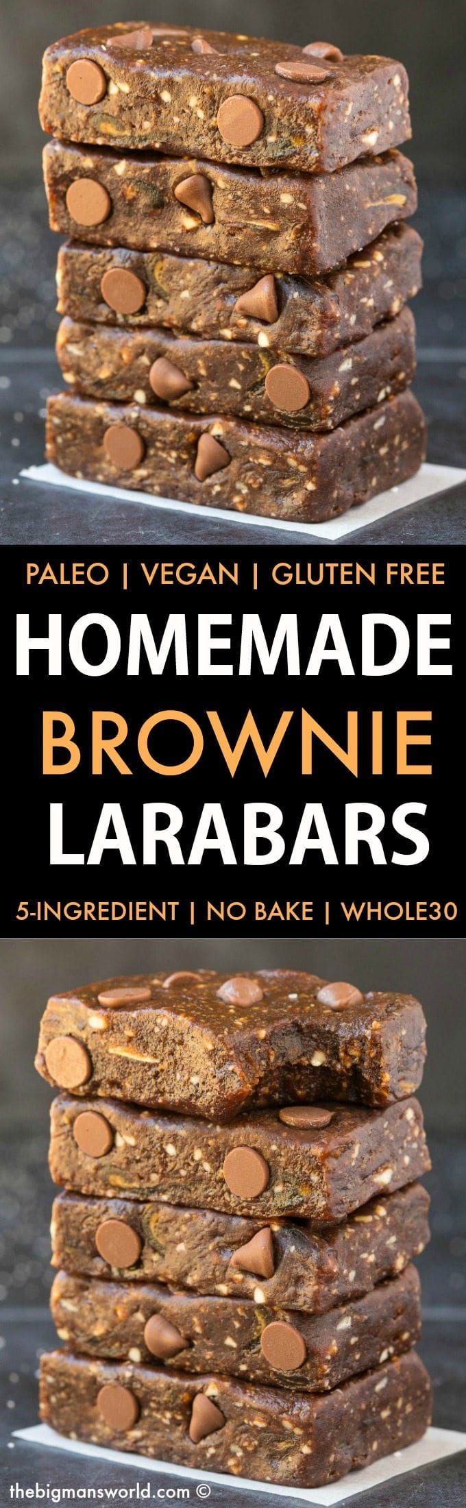 Homemade No Bake Brownie Larabars (Paleo, Vegan, Whole30, Refined Sugar Free)- Homemade copycat recipe for brownie larabars. 5 ingredients, 5 minutes and with a whole30 approved option! #whole30approved #whole30recipe #nobake #energybars | Recipe on thebigmansworld.com
