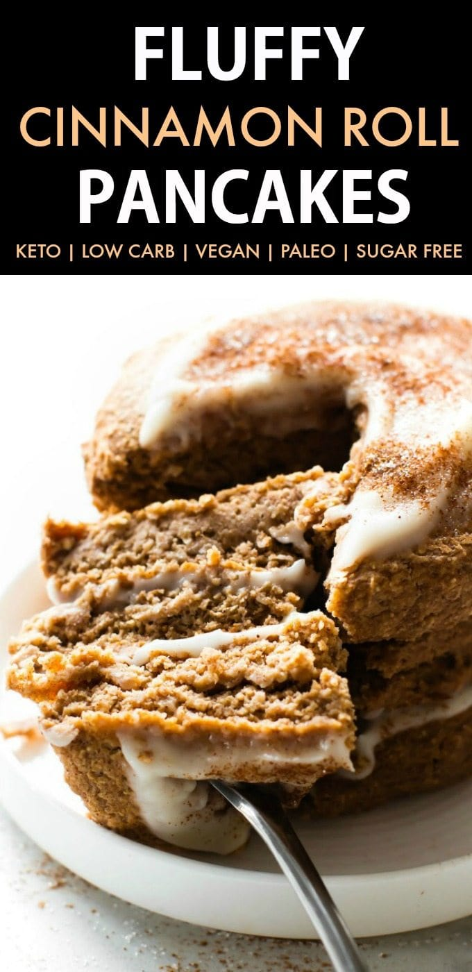 Fluffy Low Carb Keto Cinnamon Roll Pancakes (Paleo, Vegan, Sugar Free, Gluten Free)- A quick and easy recipe for Thick, fluffy flourless pancakes which taste like a cinnamon roll- Minimal ingredients, freezer-friendly and a healthy breakfast option! #ketopancakes #lowcarbpancakes #veganpancakes #paleopancakes | Recipe on thebigmansworld.com