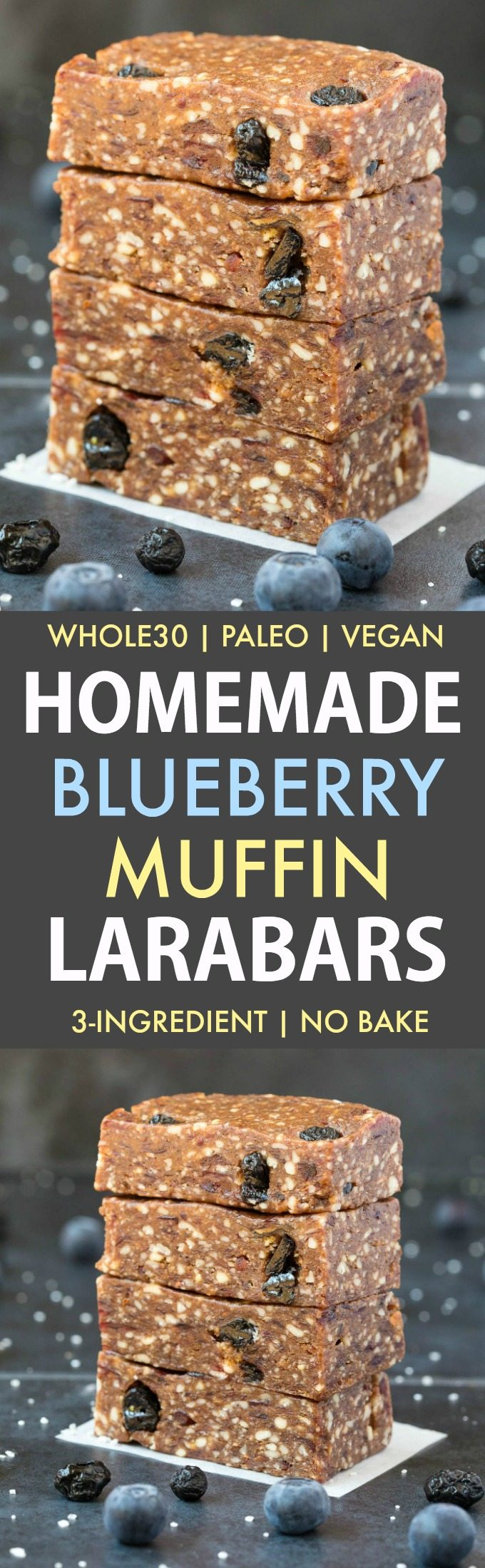 Homemade Blueberry Muffin Larabars (Whole30, Paleo, Vegan, Gluten Free) These homemade Larabars are cheaper than store-bought and take minutes to whip up! Made with just 3 Ingredients and whole30 approved! (vegan, whole 30, dairy free, refined sugar free)- #whole30 #vegan #whole30approved | Recipe on thebigmansworld.com