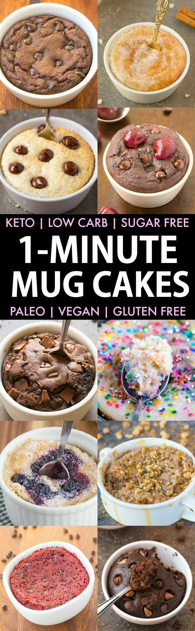 1-Minute Keto Mug Cakes (Paleo, Vegan, Low Carb, Sugar Free)- Easy mug cake, mug muffin and mug brownie recipes which take less than a minute and perfect single serve healthy treat- NO butter, grains or eggs needed! #keto #ketodessert #mugcake | Recipe on thebigmansworld.com