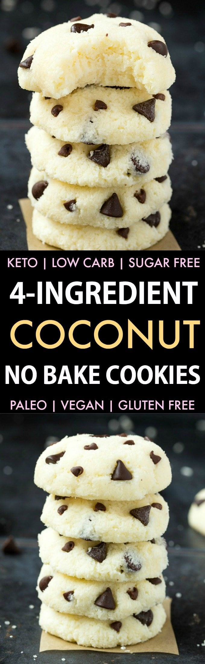 4 Ingredient No Bake Coconut Cookies (Keto, Paleo, Vegan, Sugar Free)- An easy, 5-minute recipe for soft coconut cookies! No condensed milk, sugar, or dairy needed and super low carb. #lowcarbrecipe #nobakecookies #ketodessert #lowcarb #sugarfree | Recipe on thebigmansworld.com