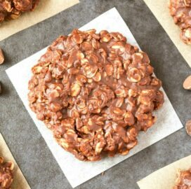 No Bake Chocolate Peanut Butter Oatmeal Cookies on a white plate