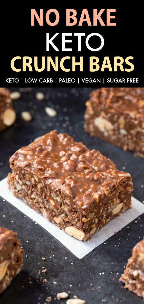 Homemade No Bake Keto Chocolate Crunch Bars
