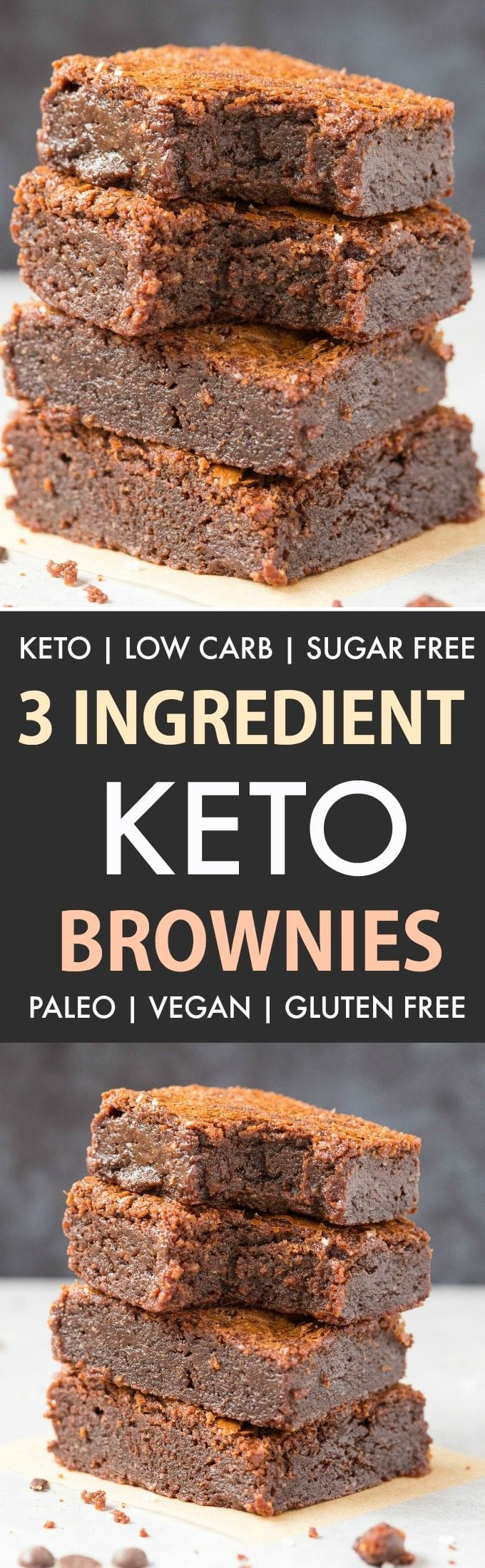 Easy 3-Ingredient Keto Low Carb brownies (Paleo, Vegan, Sugar Free)- Super fudgy, gooey and needing just three ingredients. Made with almond flour, these healthy brownies are better than any boxed mix! #ketodessert #ketorecipe #brownies #recipe #foodblogger #paleo #lowcarb | Recipe on thebigmansworld.com
