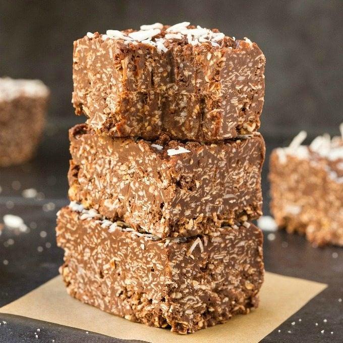 Paleo Vegan Chocolate Coconut Crunch Bars (Keto, Low Carb)