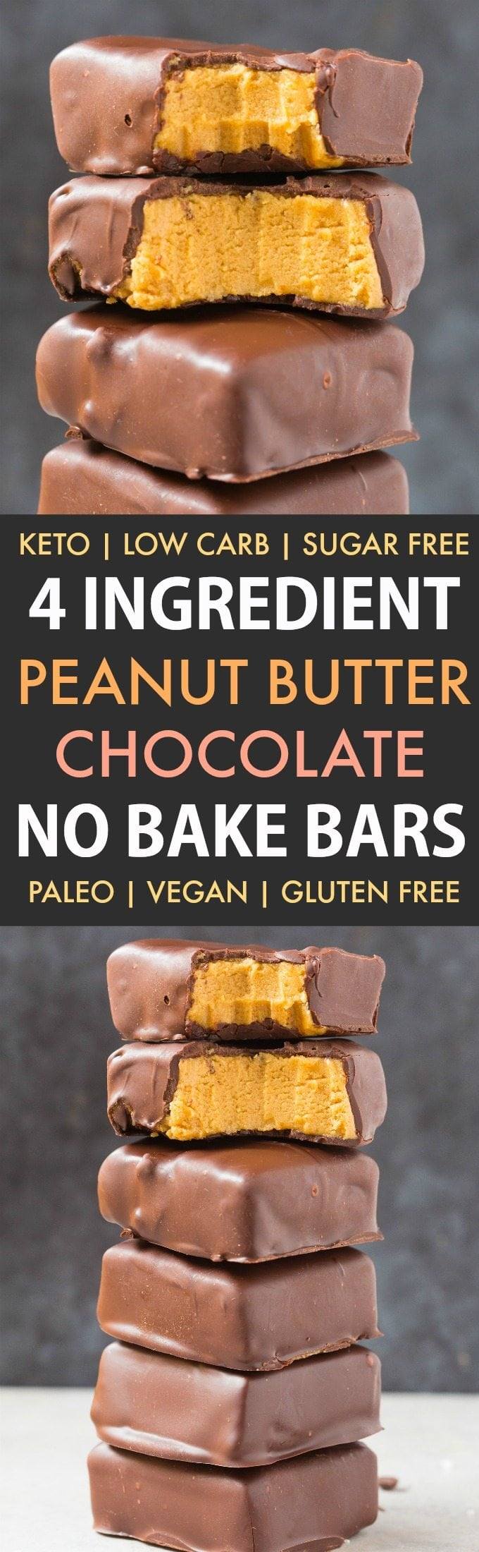 Healthy No Bake Peanut Butter Chocolate Bars in a collage