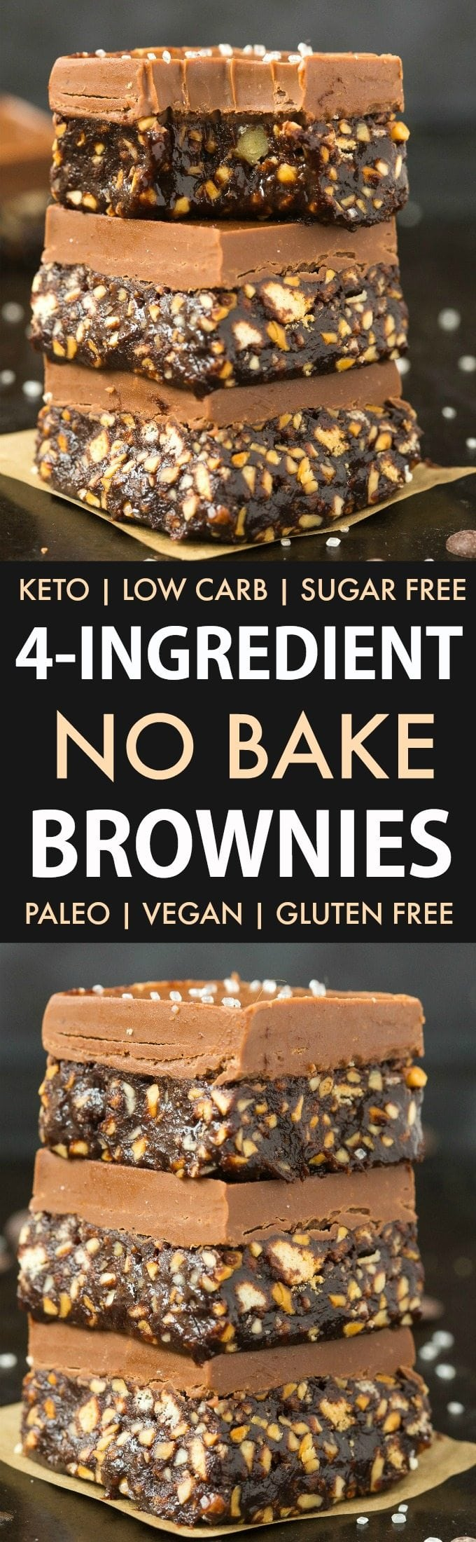 4-Ingredient No Bake Brownies (Keto, Paleo, Vegan, Sugar Free)- An easy 5 minute no bake raw brownie recipe which needs just 4 ingredients- Gooey, fudgy and the ultimate ketogenic dessert recipe! #ketodessert #ketogenicdessert #lowcarb #vegan #paleo #sugarfree #brownies | Recipe on thebigmansworld.com