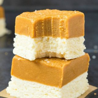3 Ingredient Paleo Vegan Peanut Butter Coconut Crack Bars (Keto, Sugar Free, No Bake)