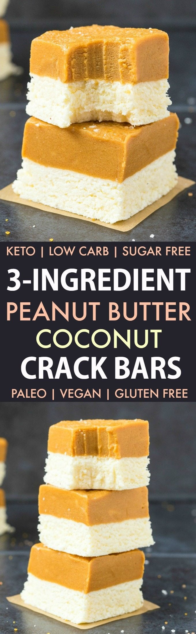 3-Ingredient No Bake Peanut Butter Coconut Crack Bars (Paleo, Vegan, Keto, Sugar Free, Gluten Free)-An Easy, healthy and seriously addictive no bake peanut butter coconut bars recipe using just 3 ingredients and needing 5 minutes! A delicious ketogenic dessert or snack! #keto #ketodessert #coconut #peanutbutter #ketosisrecipe #nobake | Recipe on thebigmansworld.com