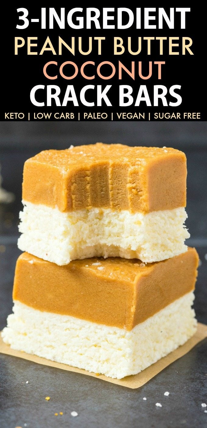 3 Ingredient Paleo Vegan Peanut Butter Coconut Crack Bars