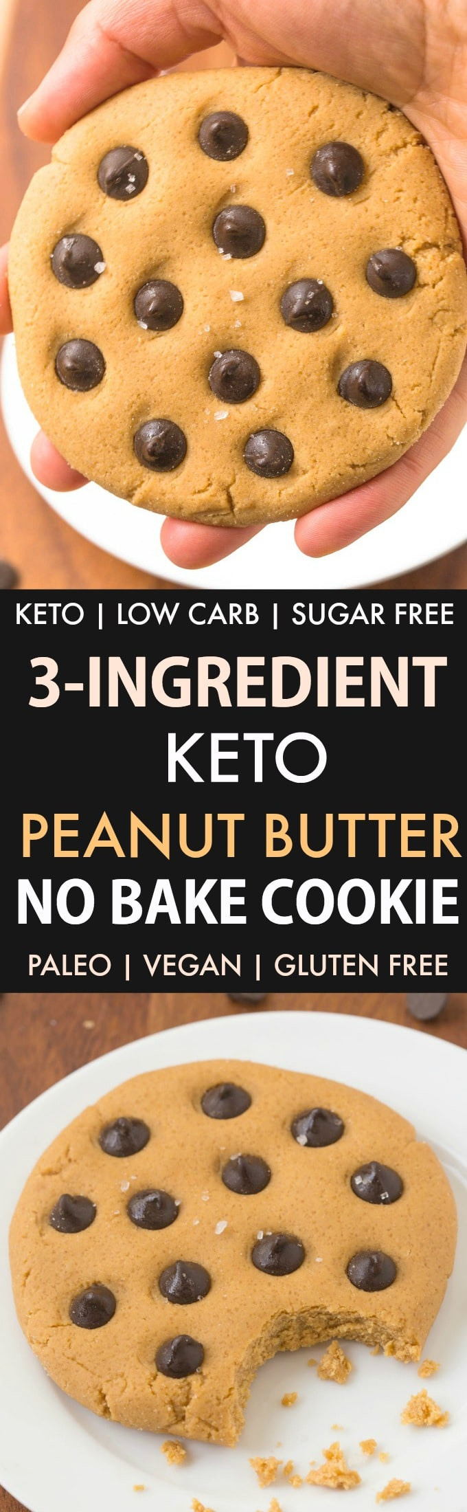 3-Ingredient Keto Peanut Butter No Bake Cookies in a collage