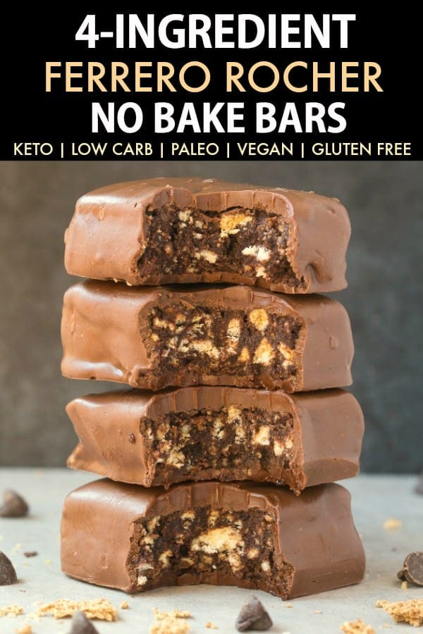 No Bake Paleo Vegan Chocolate Hazelnut Bars Keto Sugar Free Low Carb