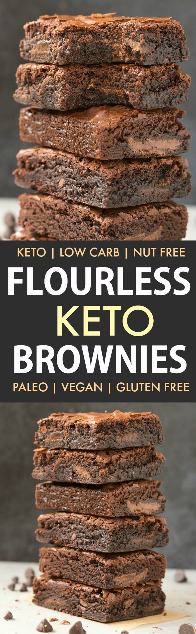 Flourless Keto Brownies in a collage