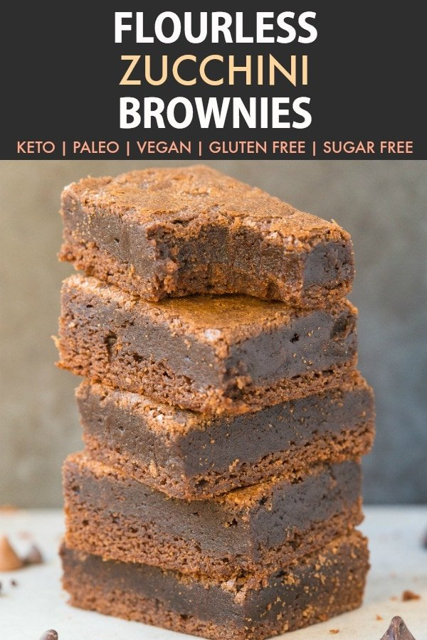 Flourless Keto Zucchini Brownies (Paleo, Vegan, Low Carb, Gluten Free)- An easy healthy fudgy gooey flourless keto brownie recipe made with zucchini and 100% sugar free and low carb! #ketodessert #flourlessbrownies #ketogenicdessert #zucchinibrownies #vegandessert | Recipe on thebigmansworld.com